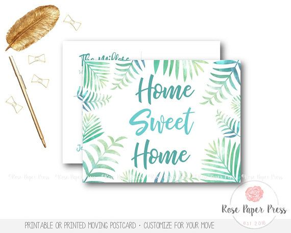 Tropical Moving Announcement Tropical Leaves Moving Postcard