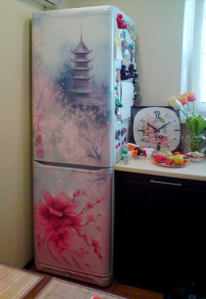 Custom Painted Refrigerator Inspired By Oriental Art Airbrush