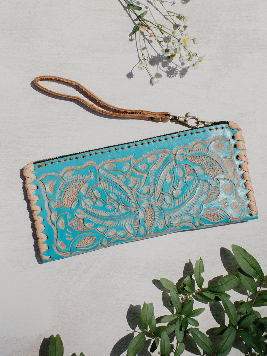 Hand Tooled Leather Wristlet