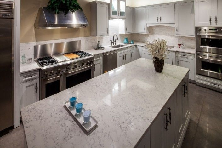 Silestone Lagoon Versus Lyra Quartz Kitchen Countertop