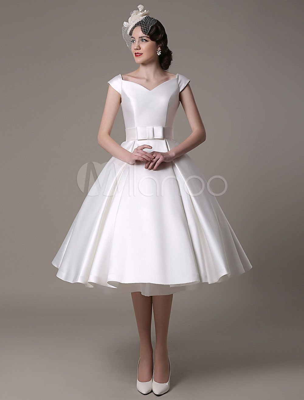 Ivory Wedding Dresses 2018 short satin Knee Length bow Sash retro ...