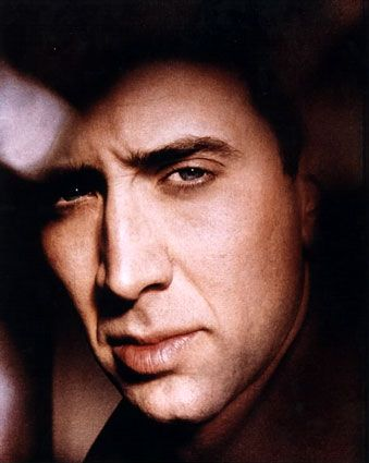There's something edgy and soulful behind Nicholas Cage's eyes.  Love the dark contrasted tonalities framing his contemplative draw behind his expression.