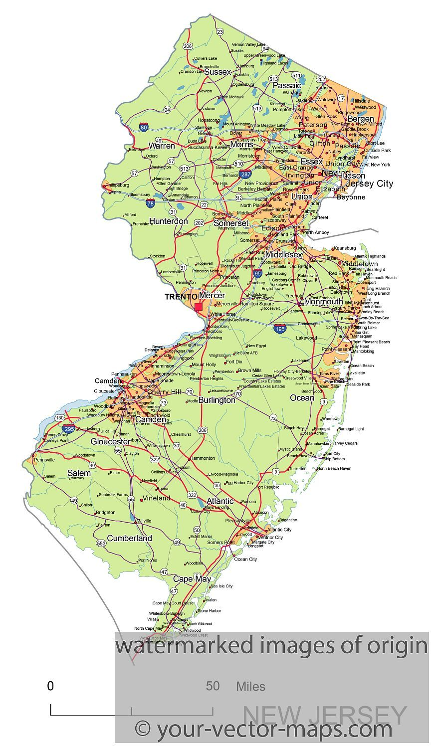 New Jersey state route network map. New Jersey highways map. Cities on