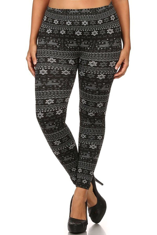 Plus Size Fleece Lined Black Grey Winter Holiday Leggings
