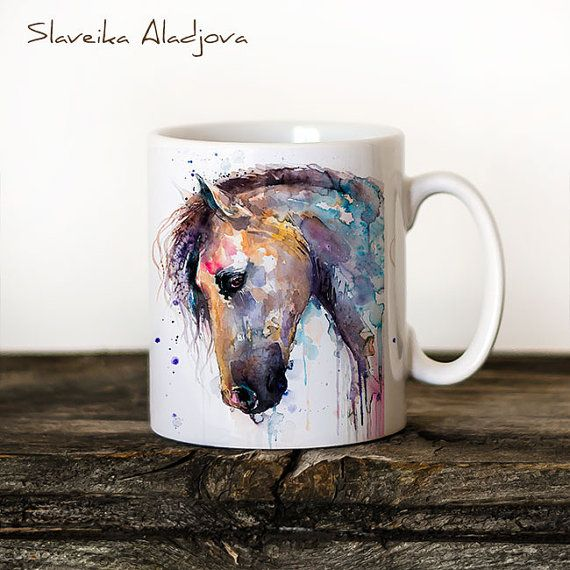Horse Mug Watercolor Ceramic Mug Unique Gift Coffee Mug Animal Mug Tea Cup Art Illustration Cool Kitchen Art Printed mug bird #mugart