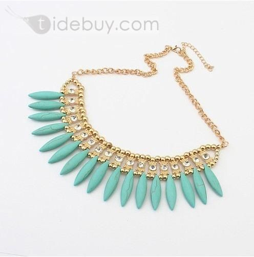 Luxurious Rhinestone & Beadings Blue Necklace : Tidebuy.com