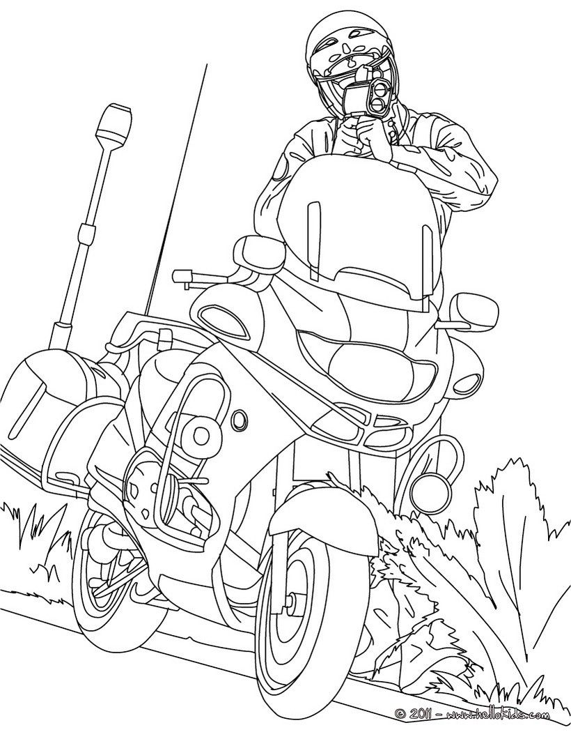 Motorcycle police officer controlling speed traffic coloring page ...