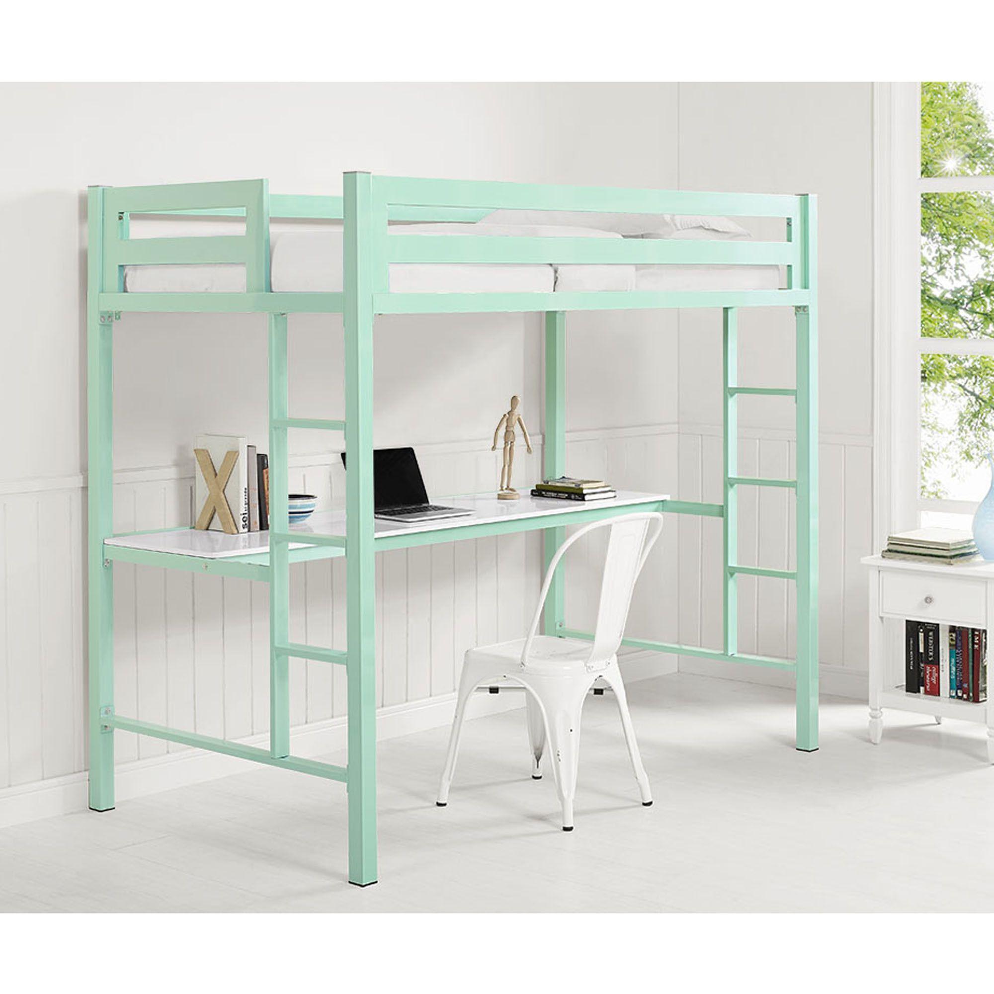 Bentley twin metal loft bed with workstation mint diy furniture