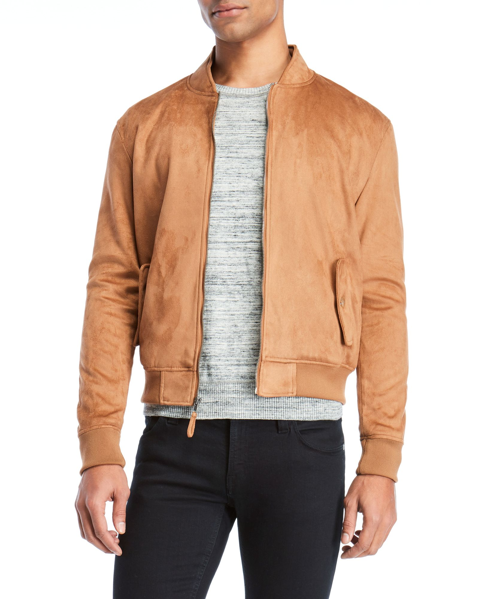 Guy Laroche Faux Suede Bomber Suede Bomber Bomber Jacket Faux Suede [ 2000 x 1600 Pixel ]