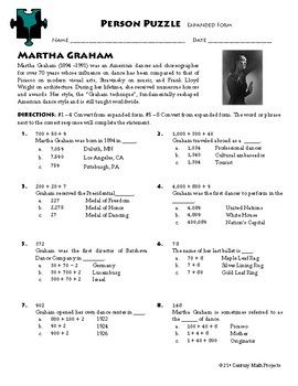 Person Puzzle - Expanded Form - Martha Graham Worksheet