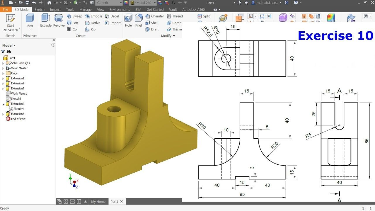 Autodesk Inventor Tutorial For Beginners Exercise 10 Youtube Cizimler 3d Cizimler