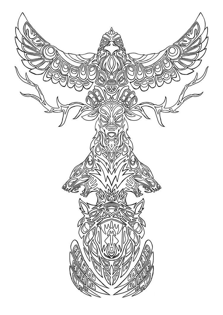coloring pages of totem pole coloring can be therapeutic