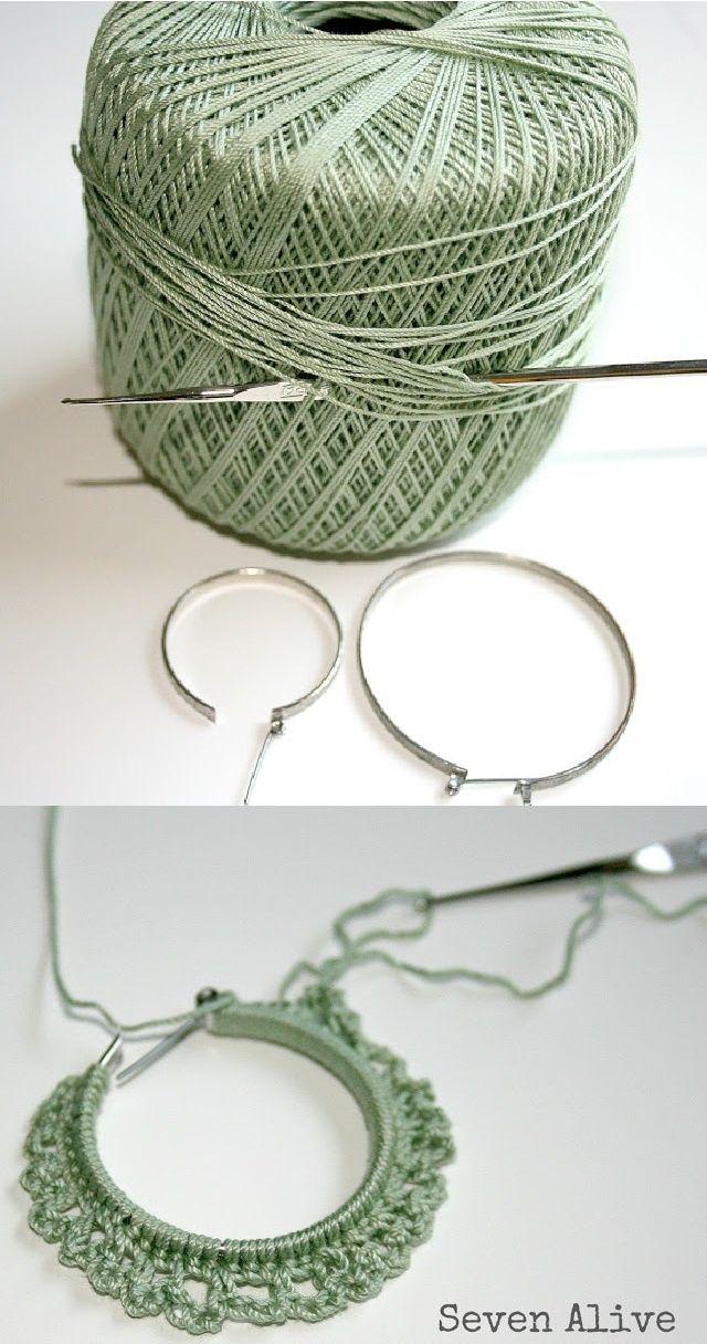 Crocheted earrings tutorial | pisco da cor | Pinterest | Pendientes ...