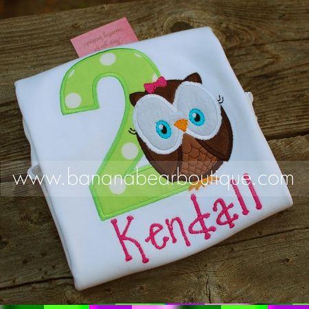 birthday applique designs | Owl Girl 2nd Birthday (5x7) Applique Design