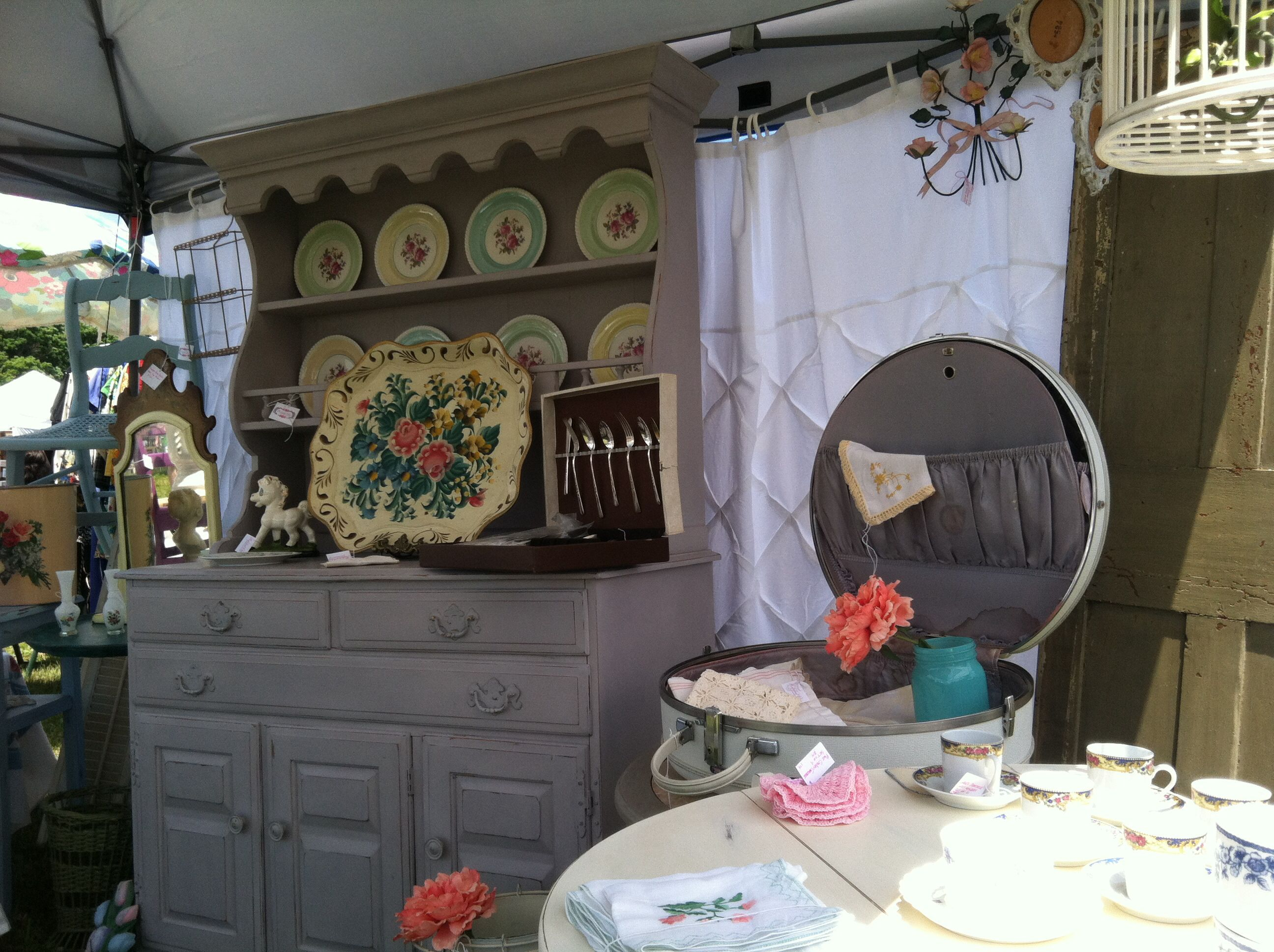 Our booth at the vintage market- Salem ct.  Www.refabedchic.com @refabedchic #refabedchic #fleamarketdecor