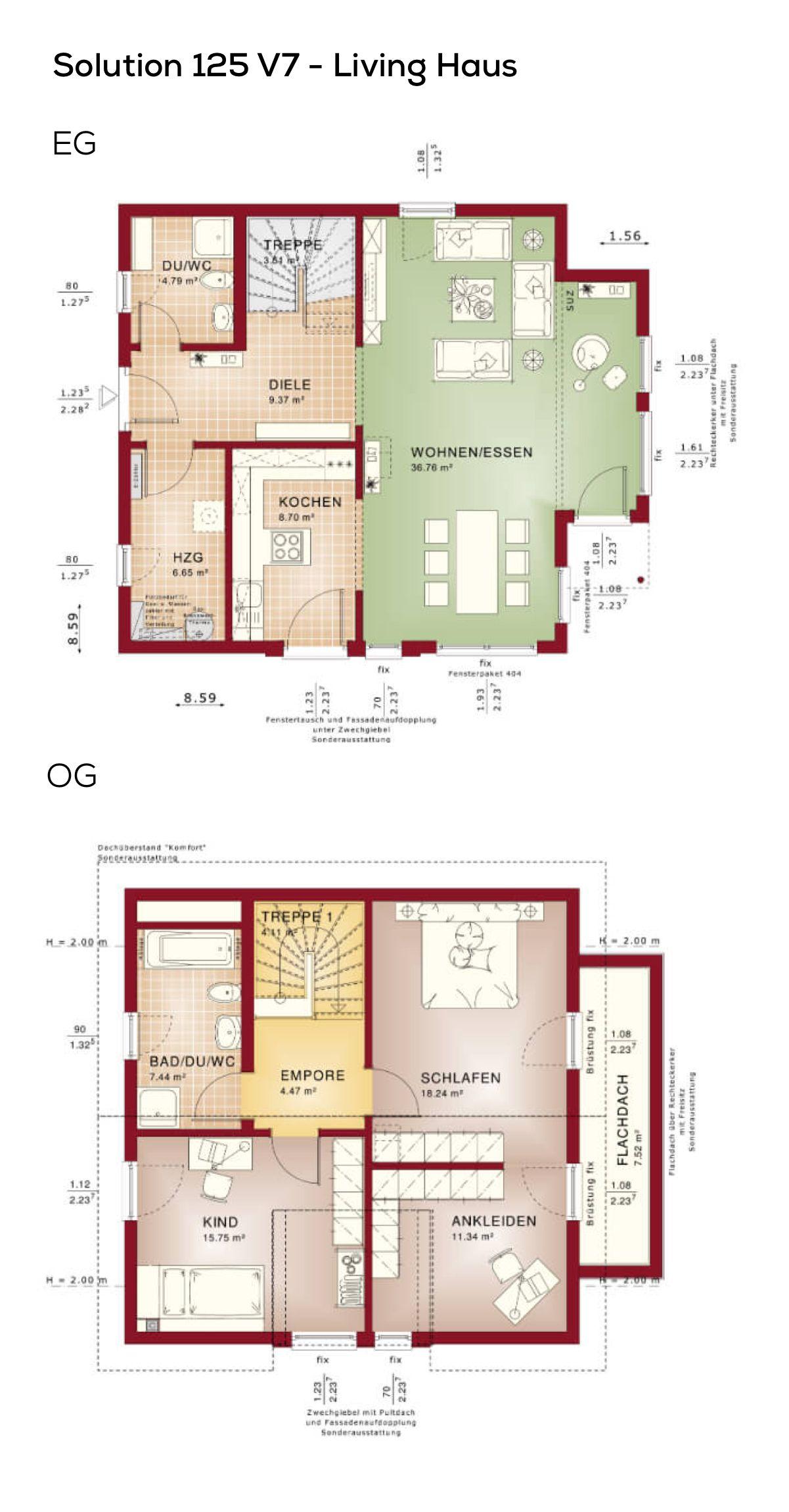 Grundriss Einfamilienhaus modern mit Satteldach - 3 Zimmer, 124 qm ...