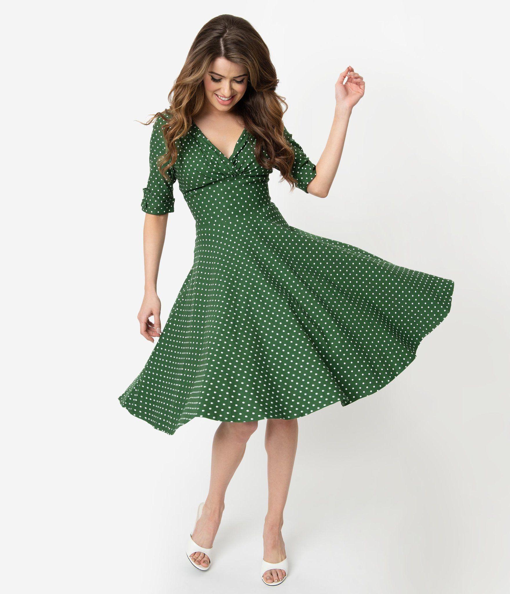Unique Vintage 1950s Green White Pin Dot Delores Swing Dress With Sleeves Swing Dress Swing Dress With Sleeves Dresses [ 2048 x 1759 Pixel ]