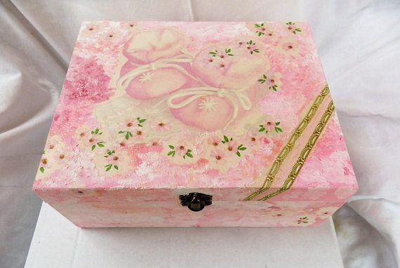 Baby Shower Gifts Keepsakes ~ Baby girl keepsake box baby shower gift new baby memory gift