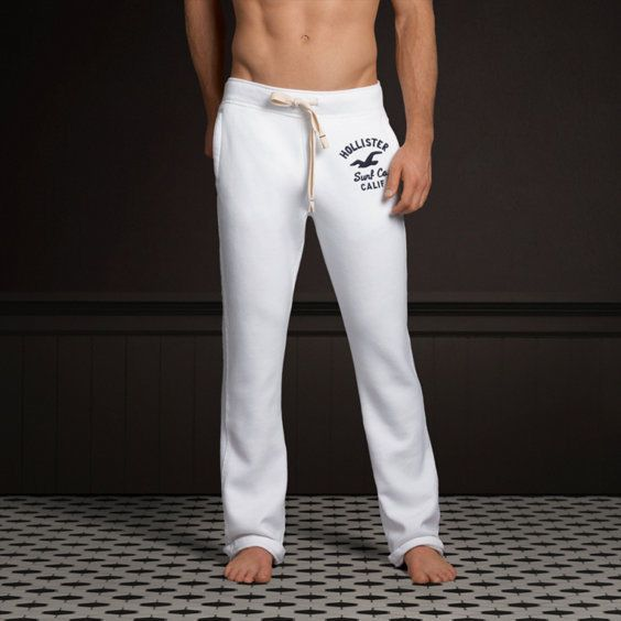 Hollister by Abercrombie and Fitch! New Mens White Logo Classic  Sweatpants-Large #Hollister