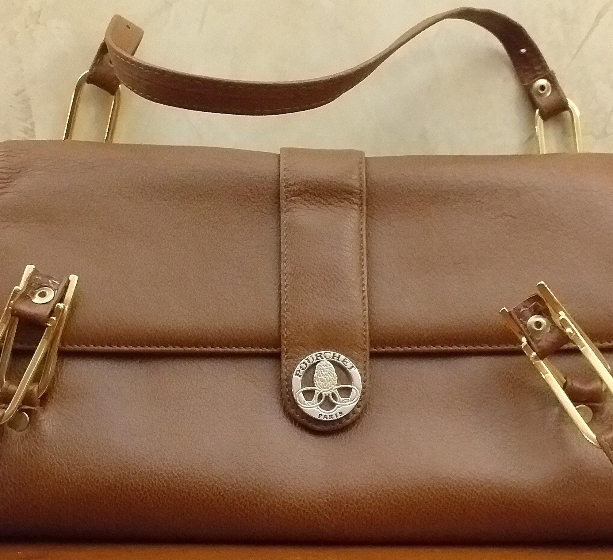 5f7a266992 Pourchet, sac cuir brun, marque POURCHET, vintage, parfait état,Paris,