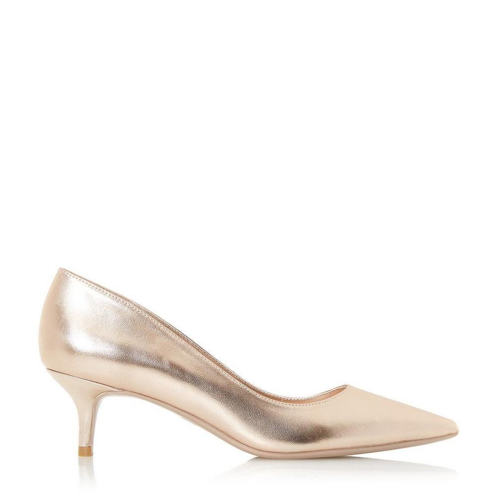 Alesandra Kitten Heel Point Toe Court Shoe Heels Kitten Heels Rose Gold Shoes