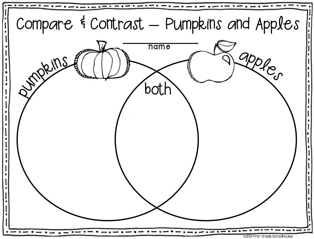 venn diagram  pumpkins and apples  fall writing activities for first graders
