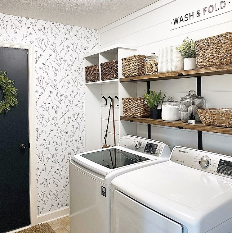 Twigs Peel And Stick Wallpaper In 2021 Laundry Room Remodel Laundry Room Wallpaper Laundry Room Inspiration