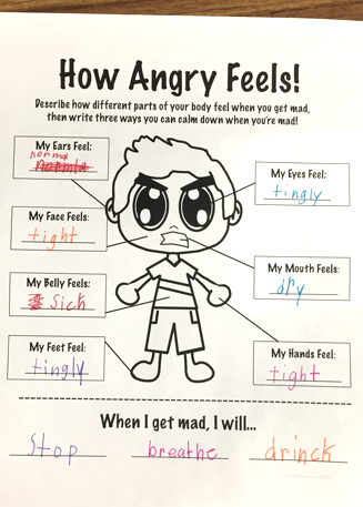 Anger management worksheet to help students learn to identify anger