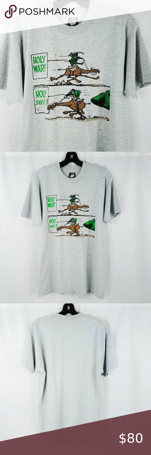 Vintage 90's Holy War Saddam TShirt Mens L Vintage 90's Holy War Saddam TShirt Mens L Gulf War Desert Storm Hussein Satire  Vintage item. Please see measurements in description to help determine sizing. Excellent pre-owned condition. Please see all photos.  - Mens Size: Large - Material: 50% Cotton / 50% Polyester - Color: Gray - Armpit to armpit: 20.75
