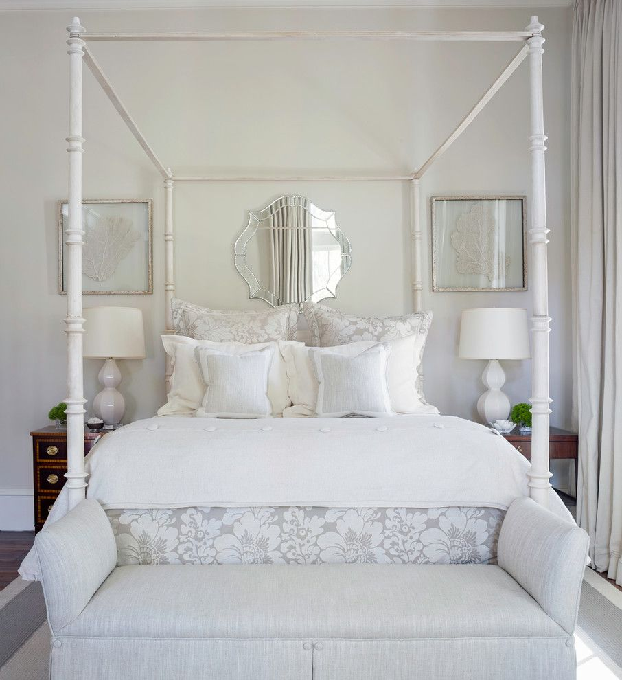 Sunburst Mirror Over Bed Bedroom Traditional With Upholstered