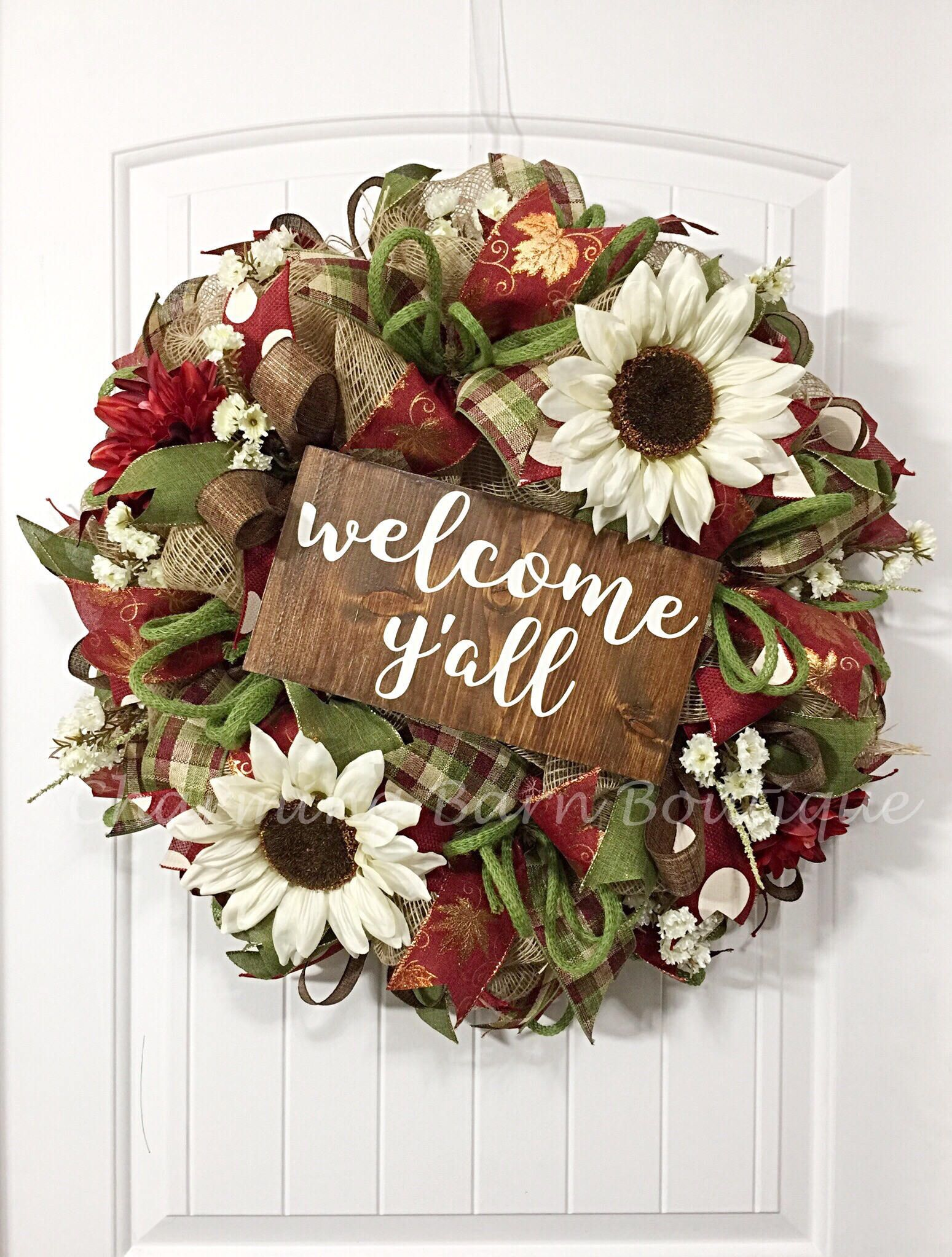 Welcome Wreath, Year Round Wreath, Fall Wreath, Welcome Yu0027all Wreath,