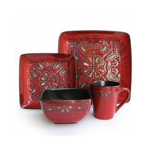 16 Pcs Square Dinnerware Set Red Dishes Dinner Stoneware Plates Kitchen Bowls