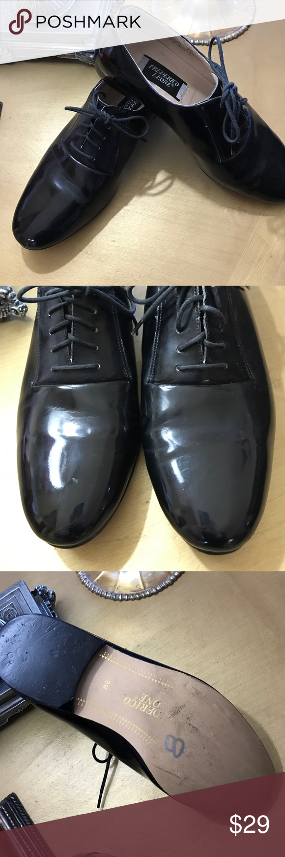 Frederico Leone Patent Leather Shoes Lightly worn leather tie shoes. 9W Frederico Leone Shoes