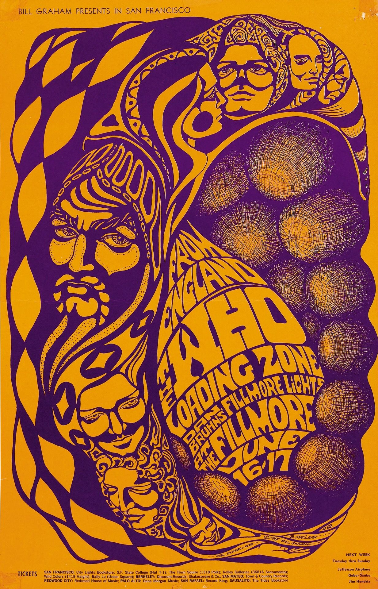 (BG 68) 1967 Who / Loading Zone at the Fillmore. Art by Bonnie MacLean.