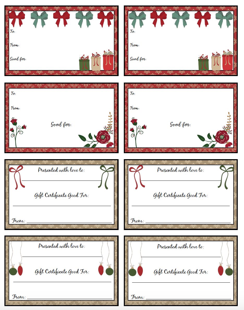 FREE Printable Christmas Gift Certificates: 7 Different Designs! Fill Out  The U0027perfect Giftu0027 For Anyone. Plus Links To More Free Printables.