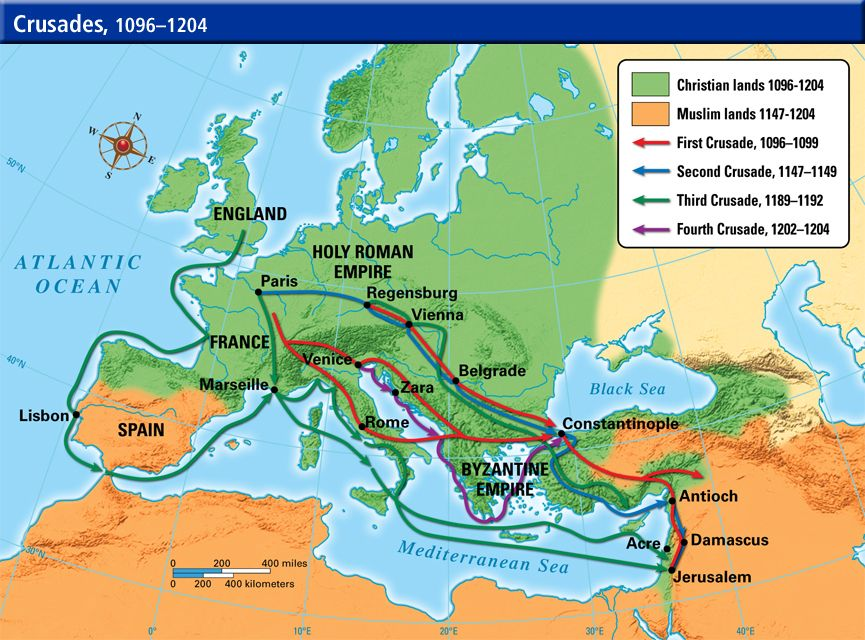 Map Of The Crusades The Crusades were several religious conflicts where the Catholic