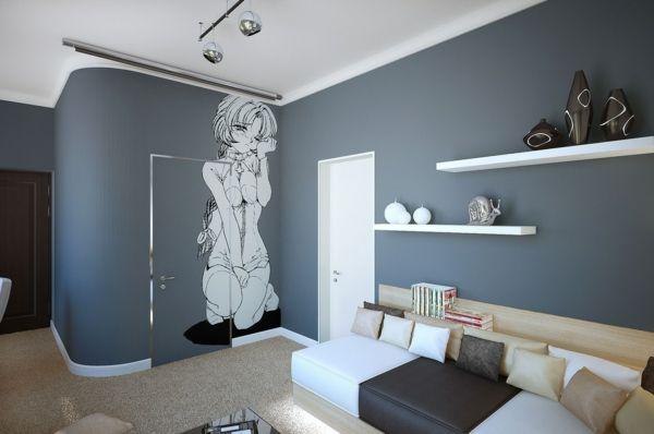 wandfarbe-ideen-für-schlafzimmer-grau - moderne wandgestaltung