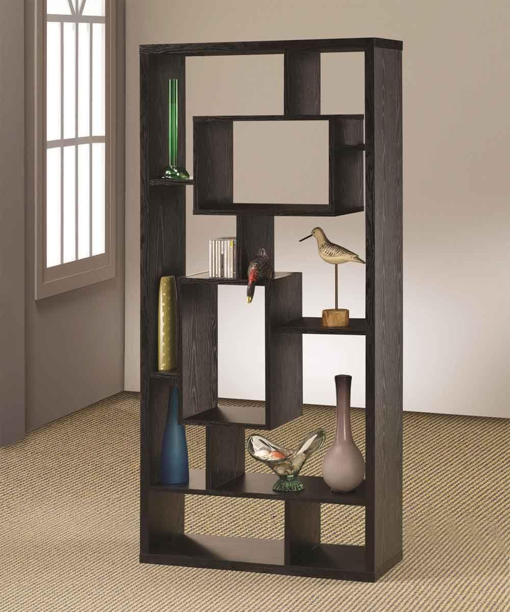 Modern Black Wooden Bookshelf Cube Style