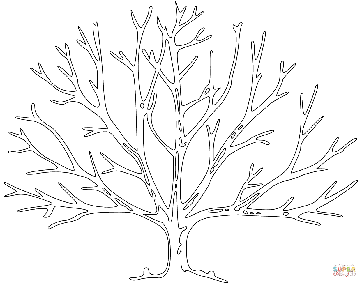 Bare Tree Coloring Page From Trees Leaves Category Select From 27237 Printable Crafts Of Cartoons Nature A Tree Coloring Page Tree Drawing Family Tree Art