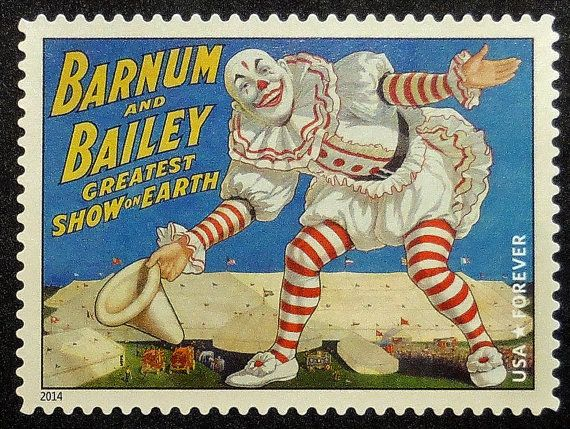 Barnum and Bailey postage stamp, clown