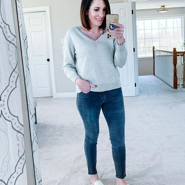 Feeling gray... Good thing I like grey! 🖤 I've got my March Favorites on the blog today... basically a roundup of spring wardrobe items and beauty products I've been enjoying while we're homebound. See more at www.jolynneshane.com or shop this look via link in bio👉🏻@jolynneshane. #ootd #shelteringinplace #stayhome #wfhoutfit #whattowear