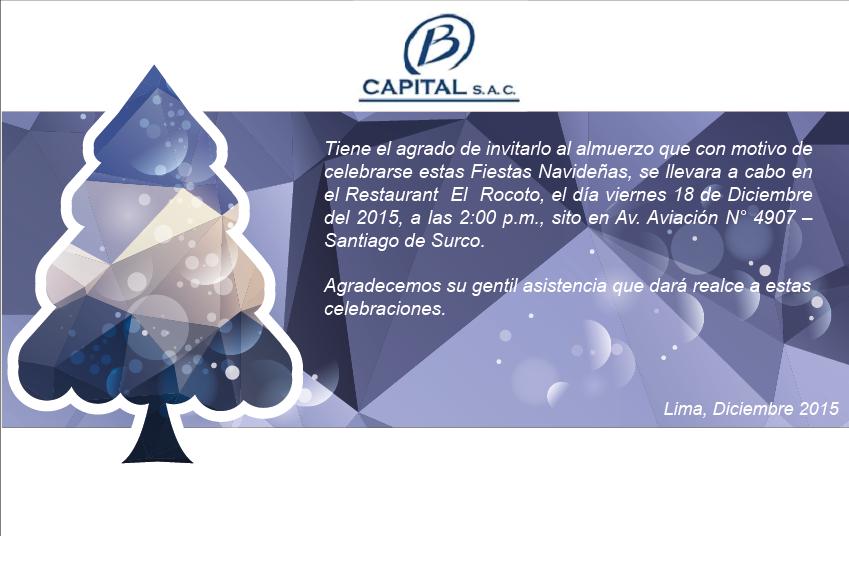 Tarjeta De Invitación Para Almuerzo Navideño B Capital