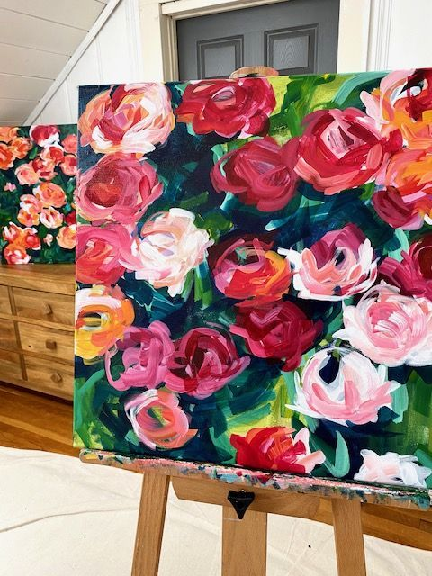 New Painting Class! How to Paint Large Loose Flowers with Acrylic Paint on Canvas. — Elle Byers Art