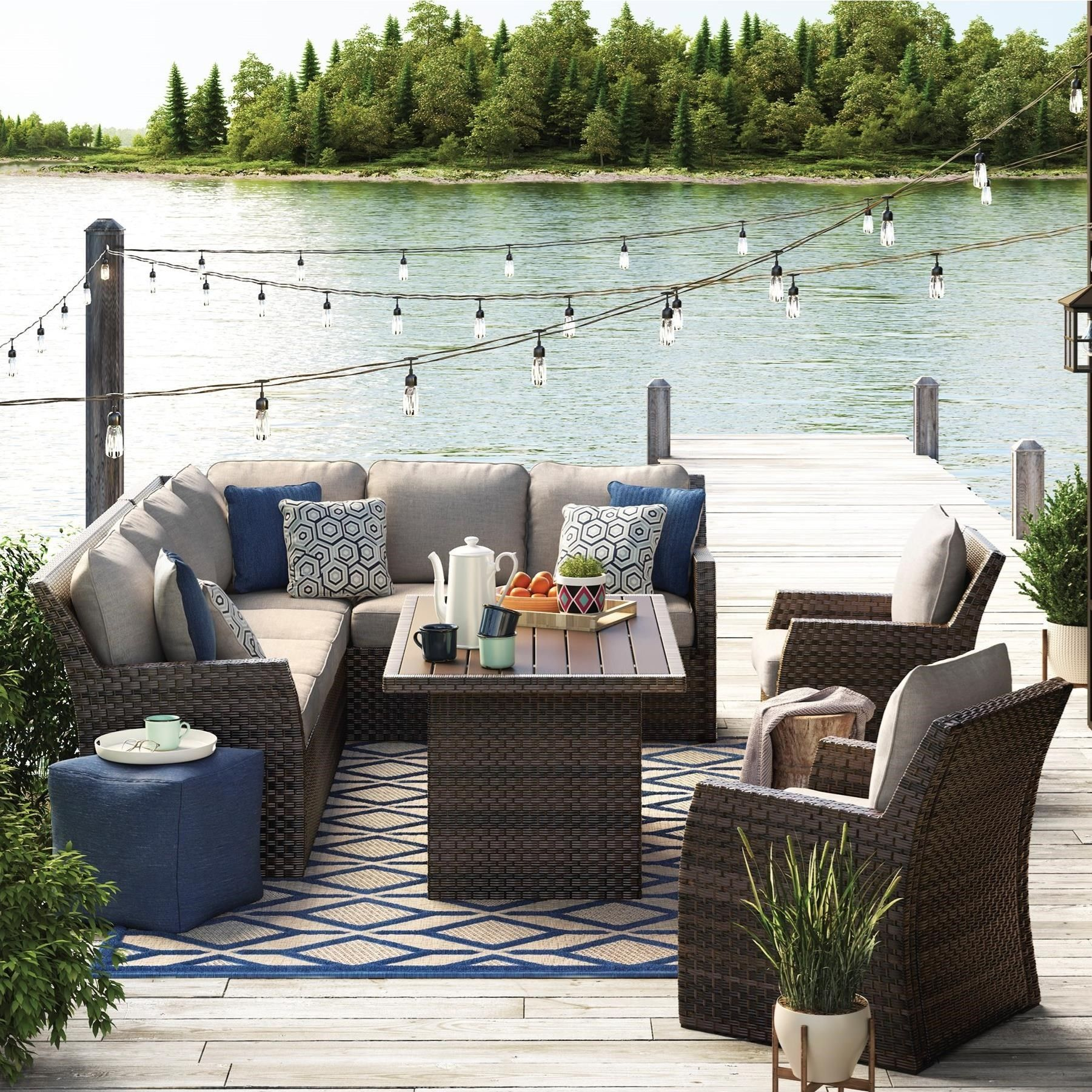 Lake Days Aren T Far Away Outdoor Sectional With Table Lounge Chairs Virginia Furniture M In 2020 Outdoor Furniture Cushions Patio Gray Patio Furniture