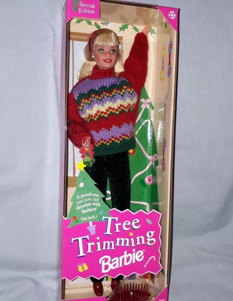 ** NIB BARBIE DOLL 1998 TREE TRIMMING CHRISTMAS