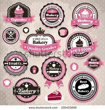 Vintage cupcake logos cupcake project ideas pinterest vintage frame with bakery cake label template pronofoot35fo Image collections