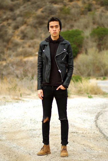 Topman Biker Jacket, H&M Pullover Hoodie, H&M Skinny Jeans, Clarks Desert  Boots