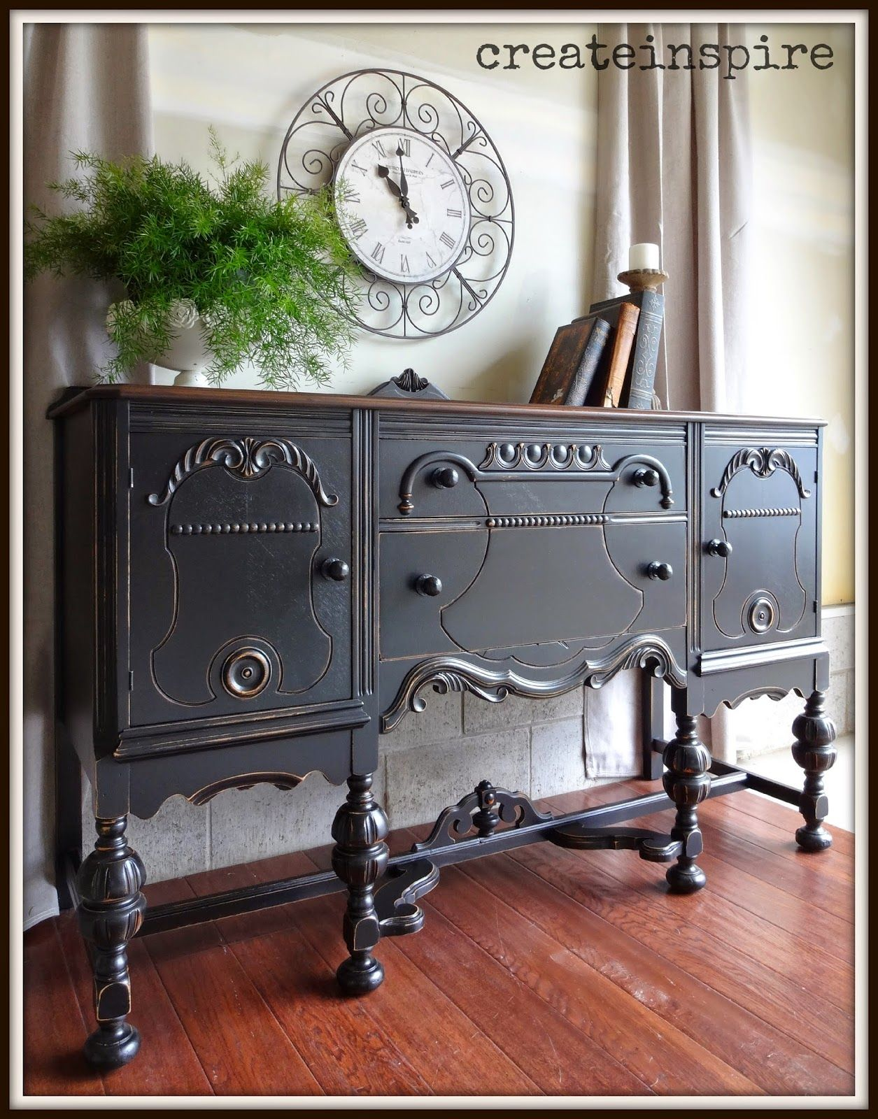 DIY: How to Transform Furniture using Black Minwax Gel Stain and Polycrylic  - this is a beautiful piece! - via Create Inspire - Antique Buffet in Black - DIY: How To Transform Furniture Using Black Minwax Gel Stain And
