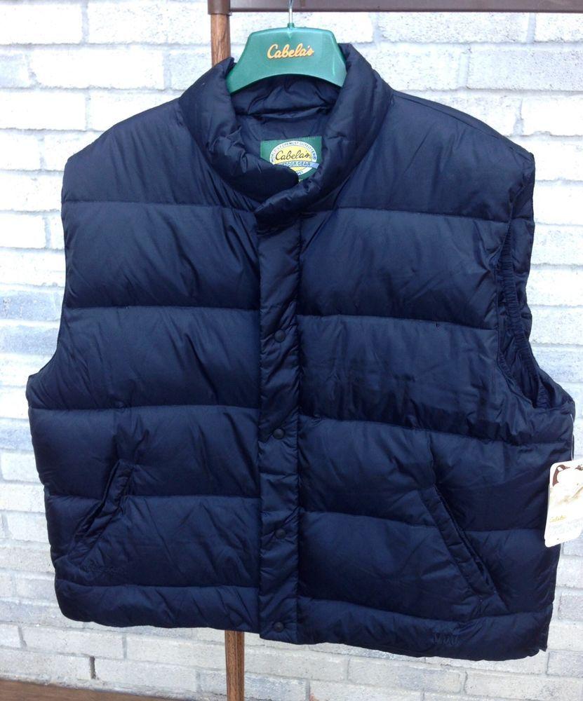 8b6c681081043 Cabela's Mens Premier Northern Goose Down Black Sleeveless Puffer Vest 2XL  Reg #Cabelas #Puffer