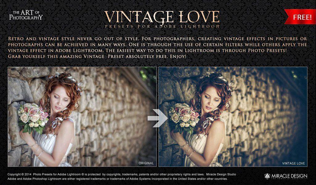 Vintage Love Preset for Adobe Lightroom / FREE by MiracleDesignLatvia